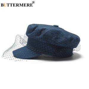 BUTTERMERE Women Newsboy Cap Denim Blue Flat Caps With Veil Ladies Elegant Gatsby Hats Ivy Vintage Autumn Casual Baker Boy Caps
