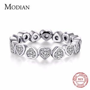 Modian mode classique cubique zircone bijoux réel 925 sterling argent amour coeurs sonner éternité bandes de bague simulée bijoux t1101