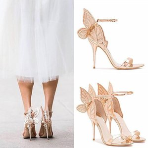 High quality Embroidered Butterfly Pumps Bridal Wedding Shoes Party Sandles Women Angel Wing Sandals Gladiator Ankle Strap High Heels