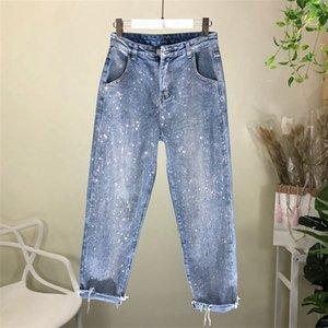 Nancylim Сыпучие джинсы женщина весна осень Новая мода Rhinestone Джинсовые брюки Femme 201006