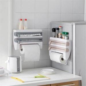 ATUCOHO Store Kitchen Refrigerator Hang Film Storage Cutting Holder Wrap Cutter Tin Sheets Paper Towel Holder Kitchen Shelf Hook