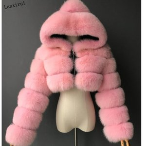 High Quality Furry Cropped Faux Fur Coats and Jackets Women Fluffy Top Coat with Hooded Winter Fur Jacket manteau femme T200905