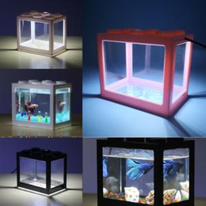 L5HQI Yapay Kurşun Su Bitkileri Akvaryum Peyzaj Aqrium Işık Balık Tankı Lambası Lego Işık Blokları Balık Tankı Plastik Için Çim