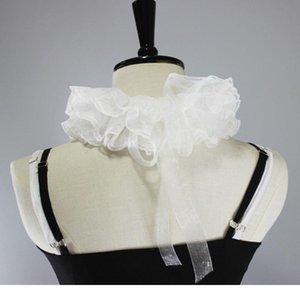 Womens Elizabethan Neck Ruff Tulle Sciarpa Strato Floral Pizzo Falso Falso Collare Falso Donna Eli Jllxoz