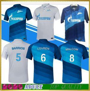 2020 FC Zenit St. Petersburg maison de maillot de foot loin MALCOLM gris bleu 2020 2021 Lovren SANTOS BARRIOS Maillot de football Maillots de foot