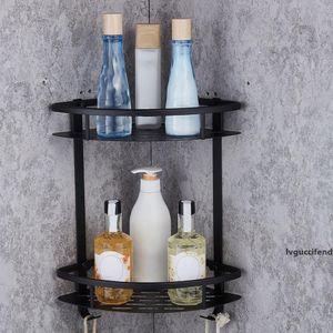 Double Layer Bathroom Shelf Shower Shampoo Soap Cosmetic Shelves Triangular Basket Wall Hanging Corner Rack Free Shipping VB