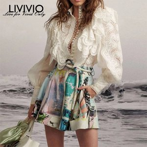 [Livivio] Zim ricamo pizzo arruffato lanterna manica lunga stand collo collo single shirt + mini gonna donna due pezzi set T200325