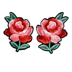 2pcs Embroidery Patches Red Flower Sew Iron On Patch Embroidered Badges For Bag Jeans Hat T Shirt Diy Appliques Craft Decoration H jllDEO
