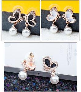 Mariposa de la joyería Pendientes Pendientes de Corea Señora de las novias pendientes de la perla del oído