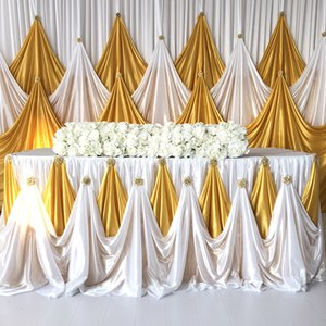 2019 October New Arrival Ice Silk Backdrop Table Skirt With Luxury Brooch For Wedding Decor