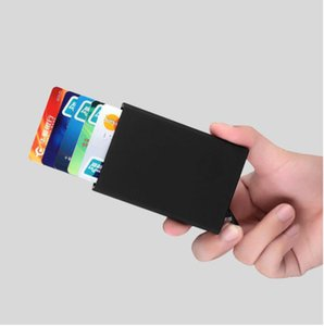 Business card holder box bag men's pop-up business card box aluminum alloy portable male metal passport ID card wallet