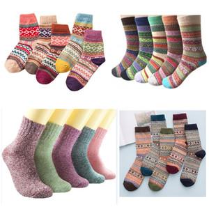 20 Стили женщин Винтаж Зима мягкая теплая Толстые Холодная Knit Wool Носки Multicolor Chirstmas Носки для вечеринок HH9-3421