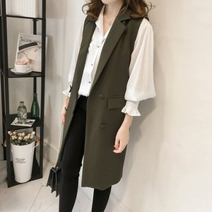 Hot Sale Sungtin Casual Blazer Women Vest Office Lady Long Suit Vest Spring Autumn Female Pockets Waistcoat Sleeveless Jackets Plus Size