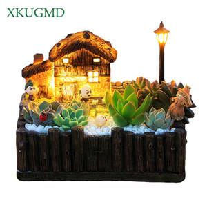 1 pcs flowerpot avec planteur pastoral classique décoratif clair casseroles succulentes cactus herbes plante végétale ornement grasse cottage t200104