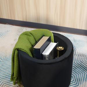 Hot products Elegant Design Black circle Mdf Velvet Fabric Foam Ottoman Bed Stool Footstool Furniture For Living Room