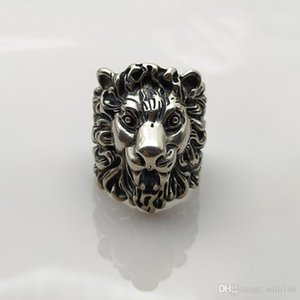 G Men's Ring Lion Head Gothic Punk Silver Ring Customized Logo for Men's and Women's Wedding Parties at Christmas and Friends'Birthday Gifts