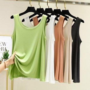 Women 2021 Spring Autumn New Fashion O-neck Vest Tops Femae Solid Color Sleeveless Tops Ladies Loose Bottoming Vest D8961