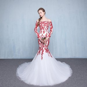 Sexy White and Red Mermaid Wedding Dresses 2019 Court Train Off-the-shoulder Applique Tulle Long Sleeve Bridal Gowns Vestido De Novia W172