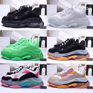 2020 di cristallo di modo inferiore Parigi 17FW Triple S Mens Sneakers Vintage papà piattaforma delle donne dei pattini casuali Tripler Sport Trainer Cancella Sole