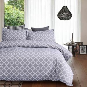 Lychee Conjunto de ropa de cama con estampado geométrico de Lychee Funda de almohada de poliéster Conjuntos de tapa de edredón 2 Juegos de cama de familia textiles para el hogar Lecho de cama blanca Queen Comforte PM0P #