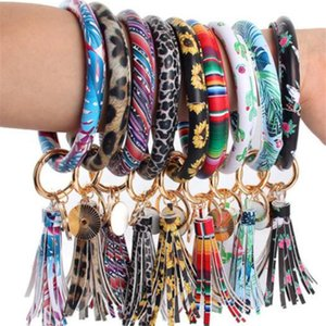 46styles Leather Bracelet Key Chain PU Wristr Round Key Ring Tassel Pendant Leopard Bufflao Wristband Keychain Bracelets Key Rings v653