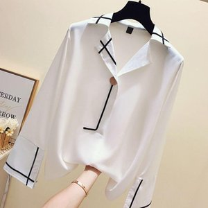 المرأة البلوزات قمصان بيضاء بلوزة المرأة السيدات مكتب رسمي طويل الأكمام الشيفون الخامس الرقبة قمم زر يصل قميص فضفاض عارضة 1