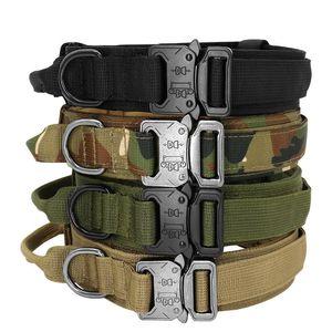 Taktischer Hundekragen mit Griff Durable Military Nylon Hundehalsband Einstellbarer Trainingskragen für große Hunde K9 Deutsch SQCHO