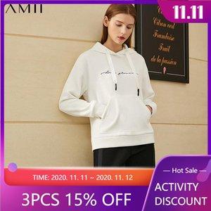 Amii Minimalismus Wintermode Hoodies für Frauen Kausal Stickerei Mit Kapuze Fleece Sweatshirt Frauen Pullover Tops 12030258