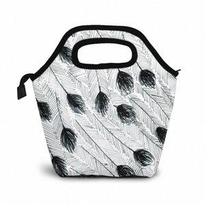 Эму перо обед мешок обед / Ледовые сумки Портативный Изолированный Пикник Box Для женщин Для мужчин vP72 #