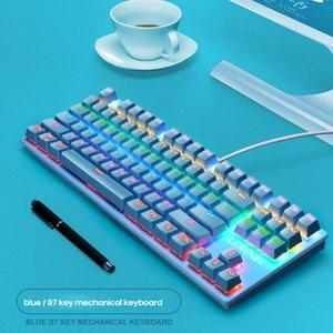 87 Клавиши Green Ось Клавиатура K550 Crack Стиль Punk Механический коммутатор Professional Gaming Клавиатуры для Tablet Desktop Notebook