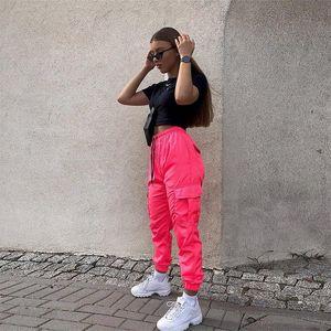 women pocket high waist neon long pants streetwear trouser 2020 summerfemale casual party club clothes
