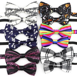 Classic Parent-Child Bowtie Set Music Notes Print Men Kid Pet Lovely Butterfly Party Dinner Wedding Polyester Bow Tie Accessory