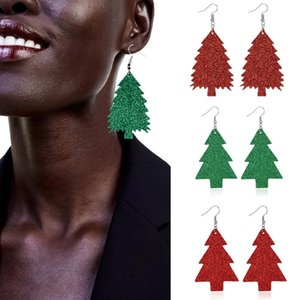 Pendientes de cuero de las mujeres personalizada pendientes de Navidad del árbol de pino regalos del festival de Navidad pendientes del árbol de Navidad 4 T500456 estilo