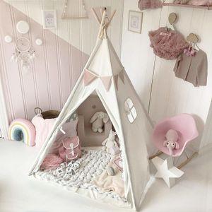 Типи треугольник KidsTent Teepee Canvas Спящий Купол 130см Плей-палатка Teepee дом шалаш комната Детская палатка Game-House 1020