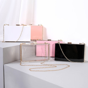 Fashion party candy blank gift colorful beach chain tote transparent purse clutch evening women box clear bags acrylic bag