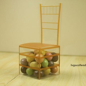 200pcs Золотого стула PVC Transparent Candy Box Фавор Подарочная коробка Свадебный Box Baby Shower Коробка Свадебные и подарки