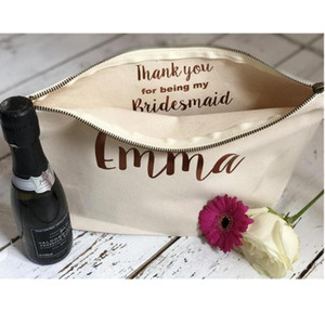 Bride Makeup Of Honour Thank Wedding Cosmetic You Gift Shower Bags,custom Brithday Personalised Bag Maid Gifts Bridal Favor Ixiqe