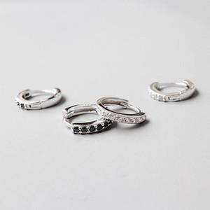925 prata esterlina brinco simples Branco Preto rodada zircão anel de orelha fivela osso do ouvido tendência personalidade jóias menina menino