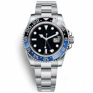 Saatler Erkekler Seramik Çerçeve Mekanik Mavi Siyah İzle Taç Otomatik Spor Kendinden Rüzgar Saatı Chrono Chronograph Moda