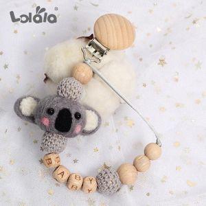 Sucette bébé clip Nom personnalisé chaîne Titulaire factice pour enfants Nipples Pacifier Clips Holder bois de hêtre Chaînes cadeau 635d #