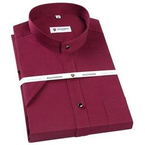 Collar con banda hombres ponen en cortocircuito vestido fino de la manga camisas solo parche de bolsillo estándar de ajuste formal Business Casual blusa de la camisa de algodón