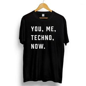 Ты, я, техно, сейчас. Мужская Печатная футболка Музыка Слоган Печать Детройт Кислотный Дом О-Шеи Повседневная короткая футболка1