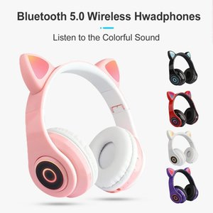 B39 Wireless Cat Ear Bluetooth Headset Headphones Over Ear Earphones With LED Light Volume Control For Children's Holidays