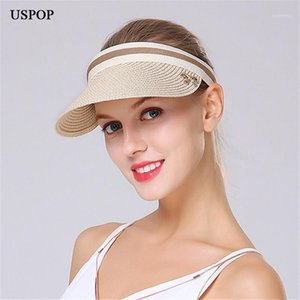 USPOP 2020 Hot Woman Straw Sun Sombreros Vacío Top Visera Caseras de paja Casual Big Brim Bow-Knot Sun Hat Summer Women Girl Beach Hat1