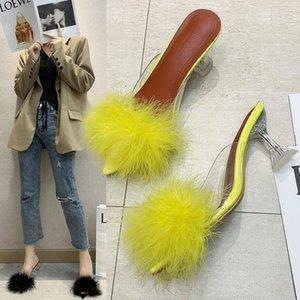 Kamucc verão mulher bombas pvc penas transparentes perspex cristal de cristal saltos altos pele peep toe sandálias senhoras slides c0202