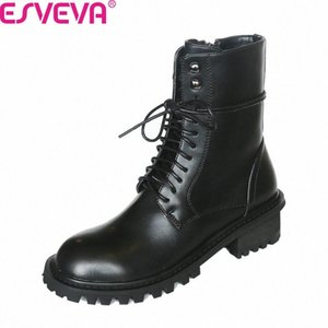 ESVEVA 2020 Lace Up Zipper Cow Leather PU Antiskid Women Shoes Autumn Winter Round Toe Square Heel Casual Ankle Boots Size 34 39 Ariat heGx#