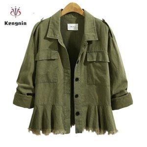 İlkbahar Sonbahar Artı boyutu 5XL Kadınlar Uzun Kollu Ceket Vintage Püsküller Bayanlar Coats Pamuk Ordusu Yeşil Etek Dış Giyim 201013