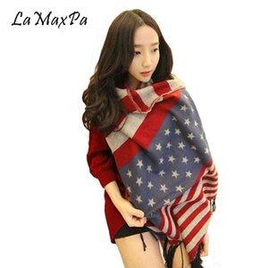 LaMaxPa Cashmere Wool American Flag Scarf Mulheres Noble Xailes Femme elegante Echarpe Mujer Elegante bufanda Vrouwen Graça Sjaals