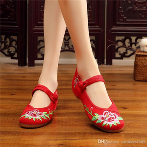 high new cozy heel 2019 women shoes casual shoes for women increase internal Classical Style Mom&#39s Canvas Shoes X87