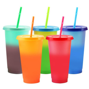24oz Color Changing Cup Magic Plastic Drinking Tumblers with Lid and Straw Reusable Candy Colors Cold Cup Summer Water Bottle